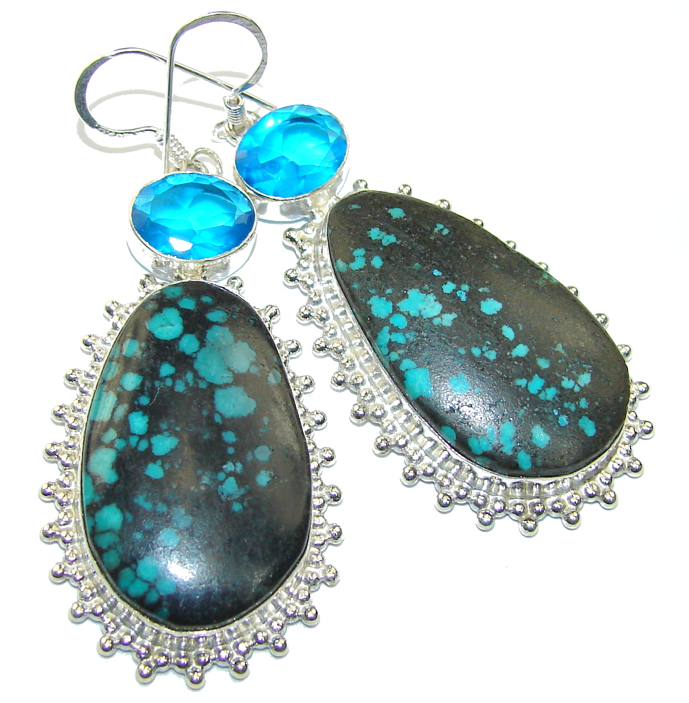 Fabulous Parrot's Wing's Chrysocolla Sterling Silver earrings