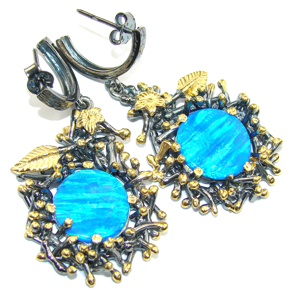 Gorgeous Style AAA Blue Fire Opal, Gold Plated, Rhodium Plated Sterling Silver earrings