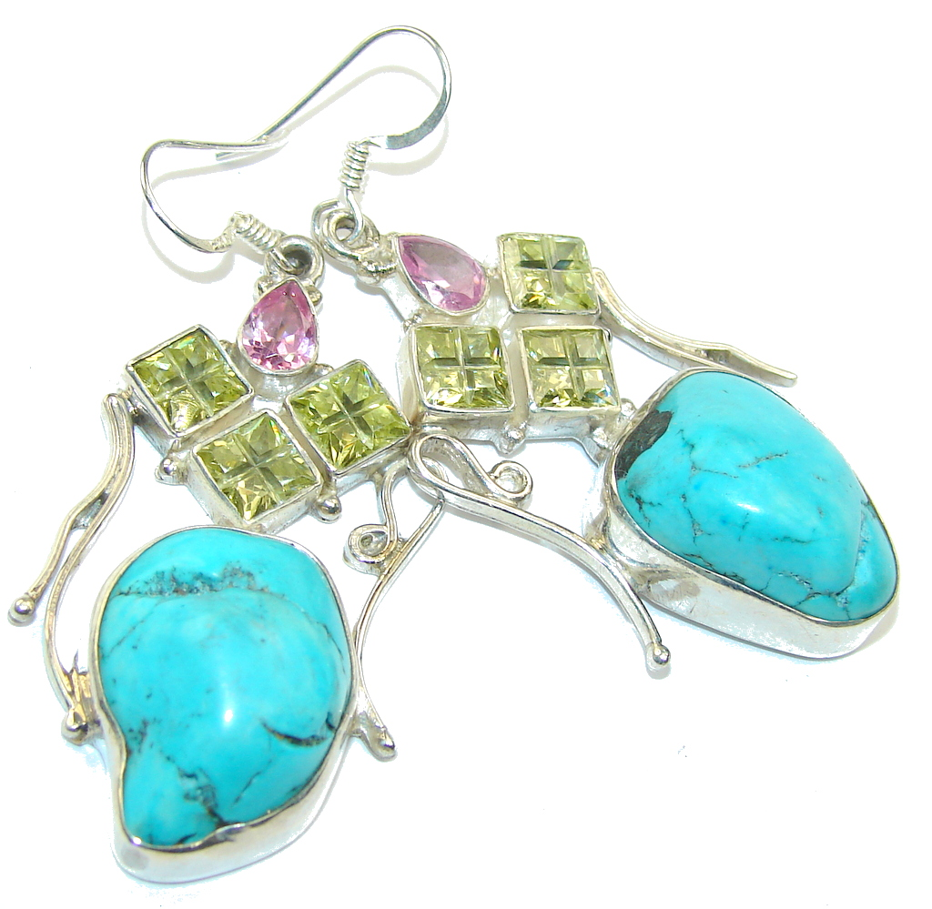 Classic Beauty! Blue Turquoise Sterling Silver earrings