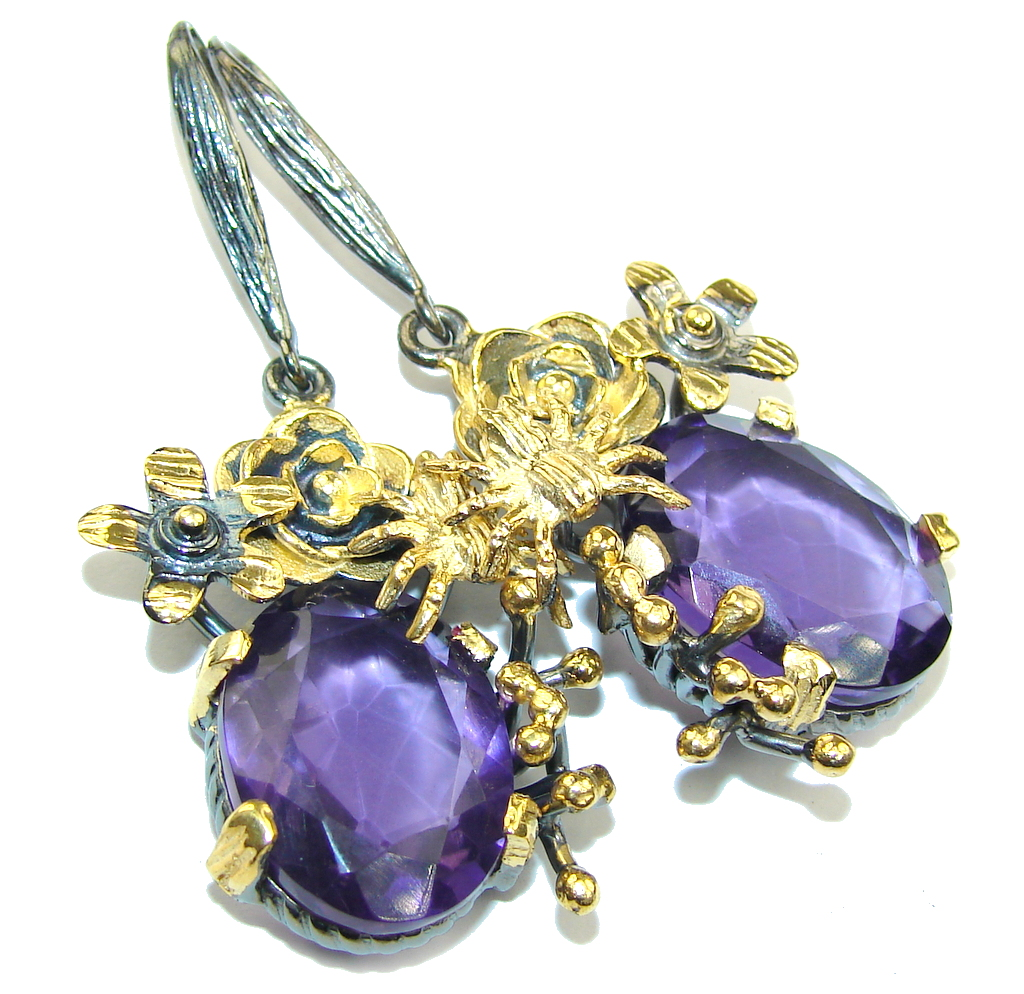 In My Heart Created Purple Amethyst, Gold Plated, Rhodium Plated Sterling Silver earrings