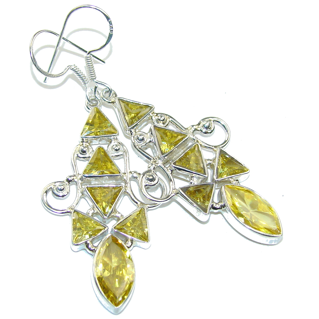 Delicate Created Yellow Citrine Sterling Silver earrings