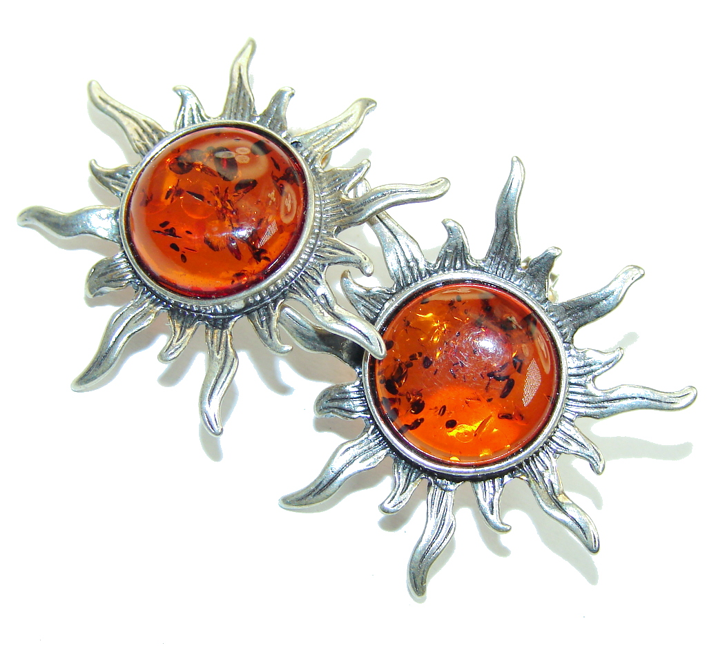 Perfect Gift! AAA Polish Amber Sterling Silver Earrings