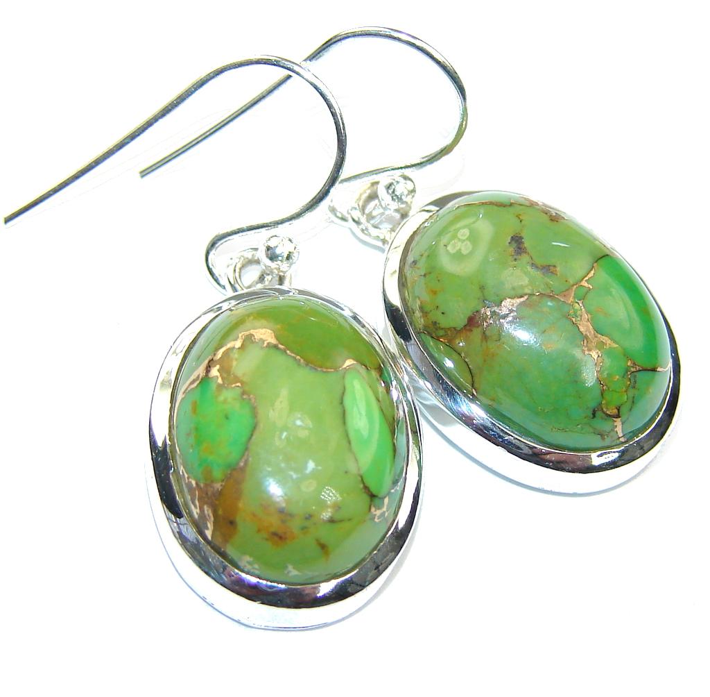 Fresh Copper Green Turquoise Sterling Silver earrings