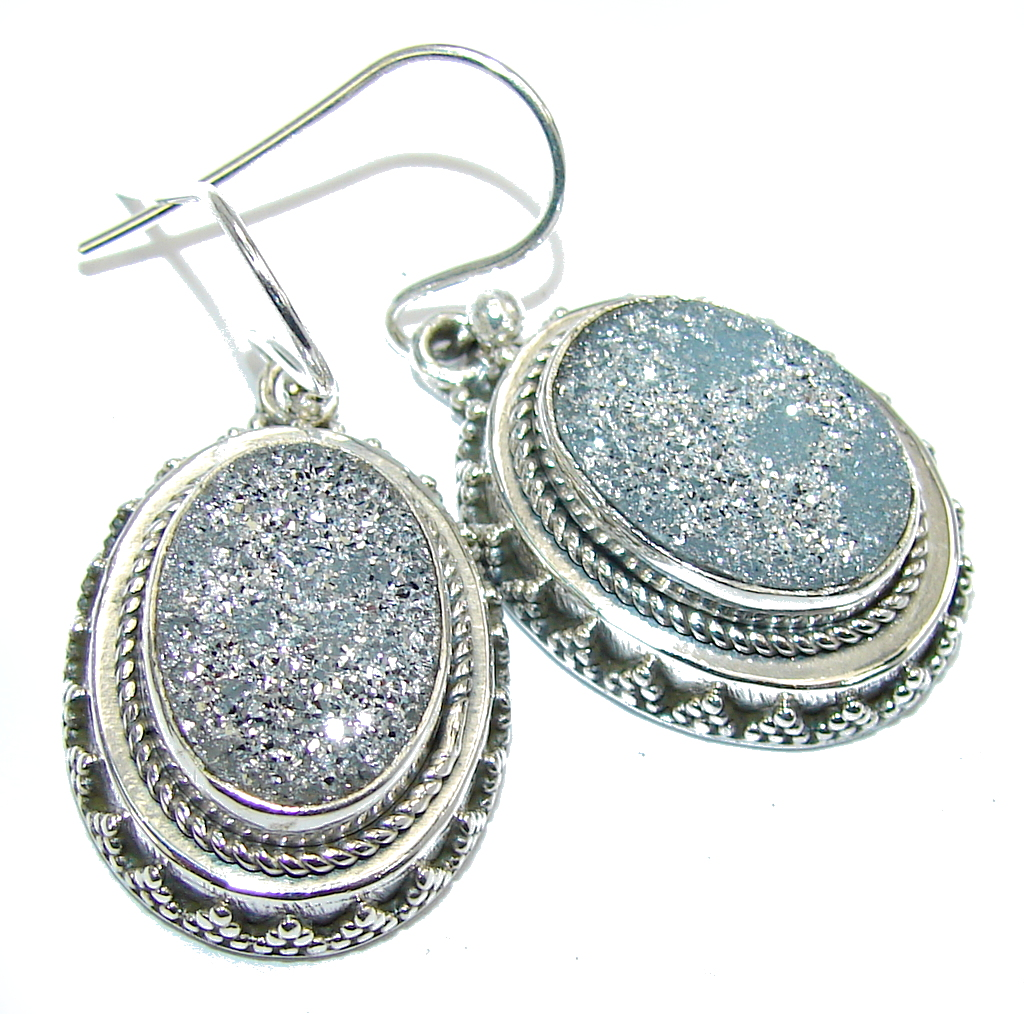 Fashion! Dust Druzy Sterling Silver Earrings
