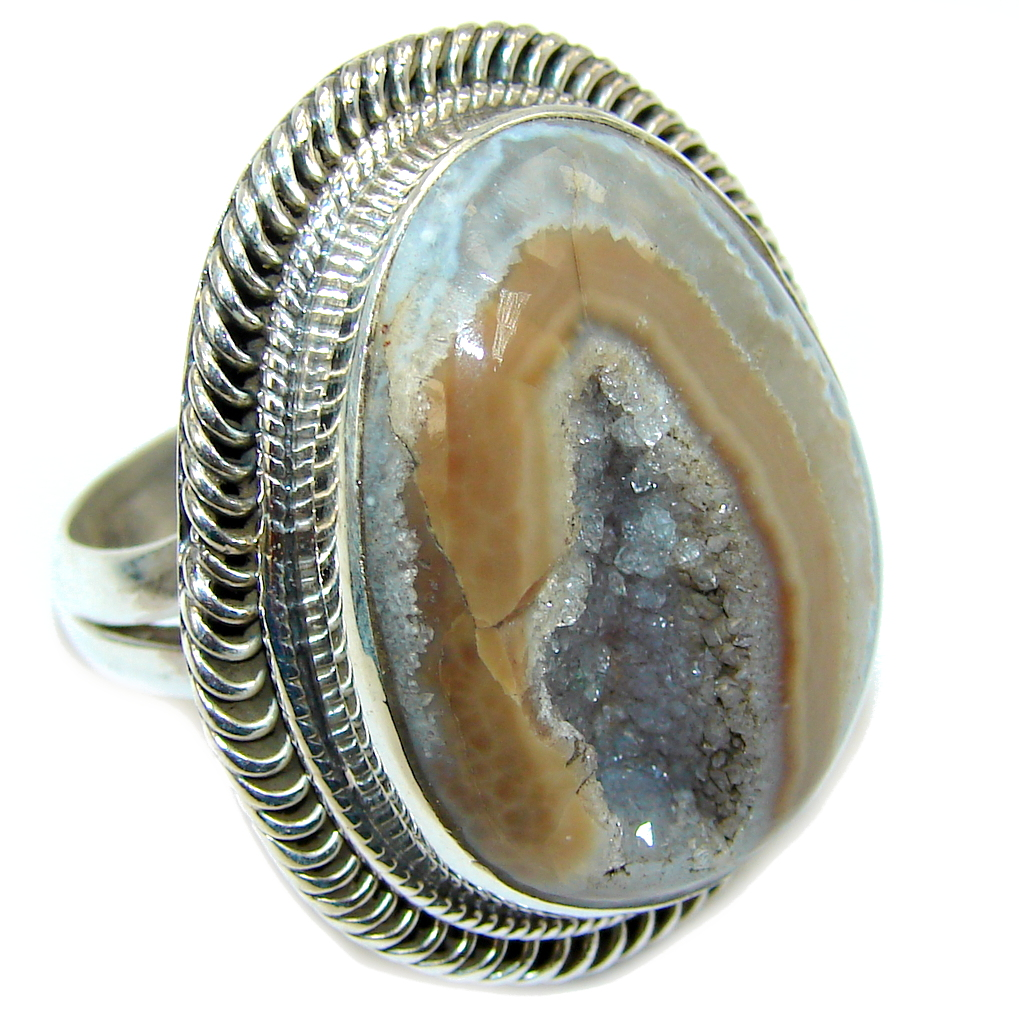 Big Sahara Dune Agate Druzy Sterling Silver Ring s. 8