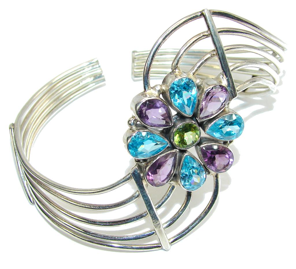 Beautiful Style Blue Topaz & Amethyst Sterling Silver Bracelet/ Cuff