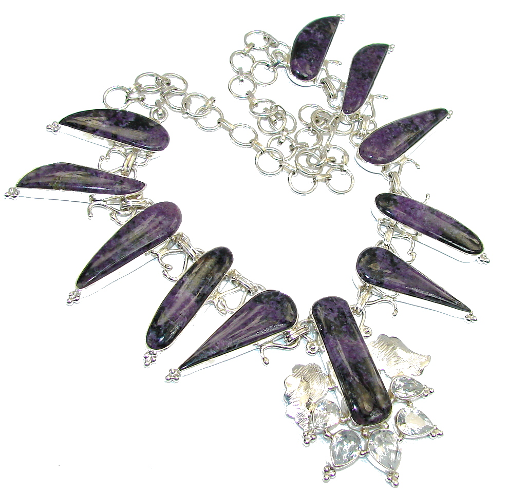 Lavender Secret AAA Russian Purple Charoite Sterling Silver Necklace