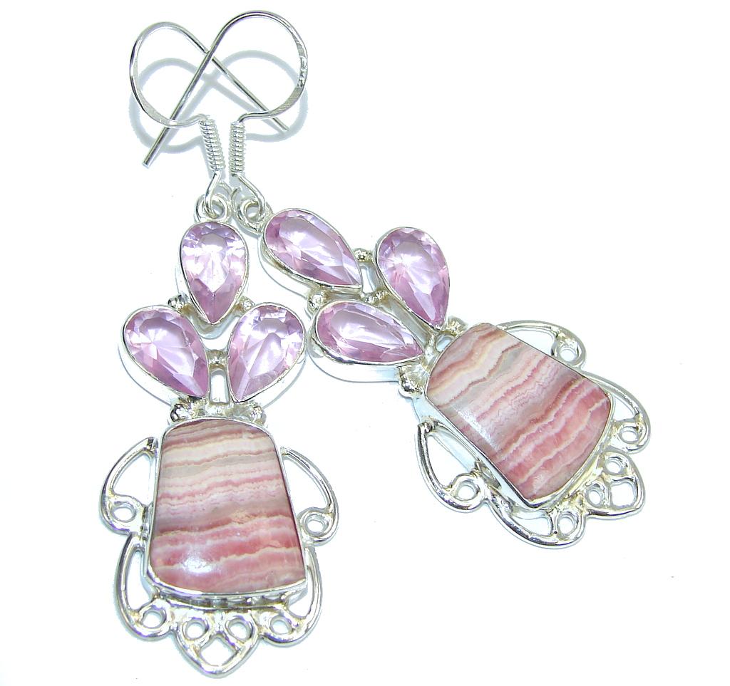 Amazing Pink Rhodochrosite Sterling Silver earrings