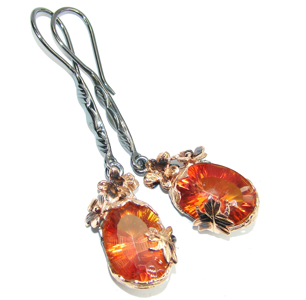 Fashion Beauty AAA Orange Magic Topaz, Rose Gold Plated, Rhodium Plated Sterling Silver earrings / Long
