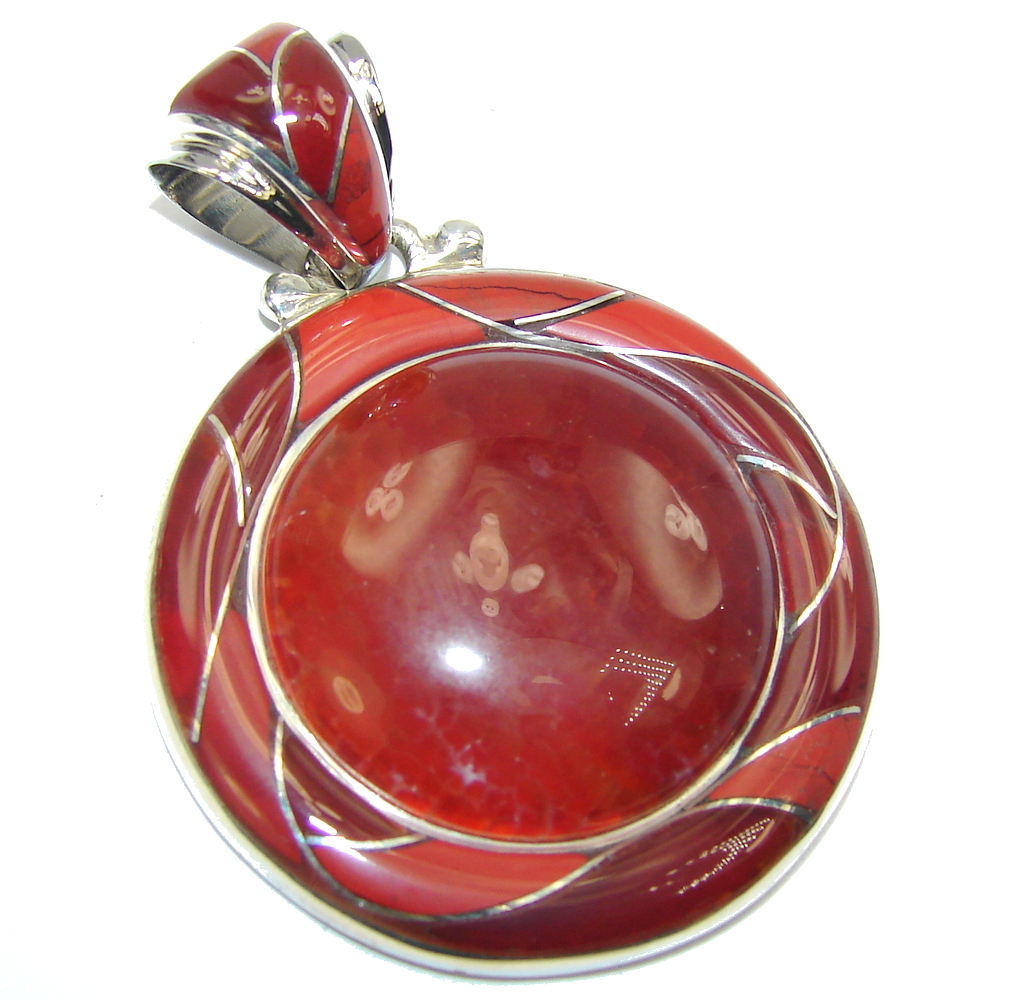 Amazing Brown Mexican Fire Agate Sterling Silver Pendant