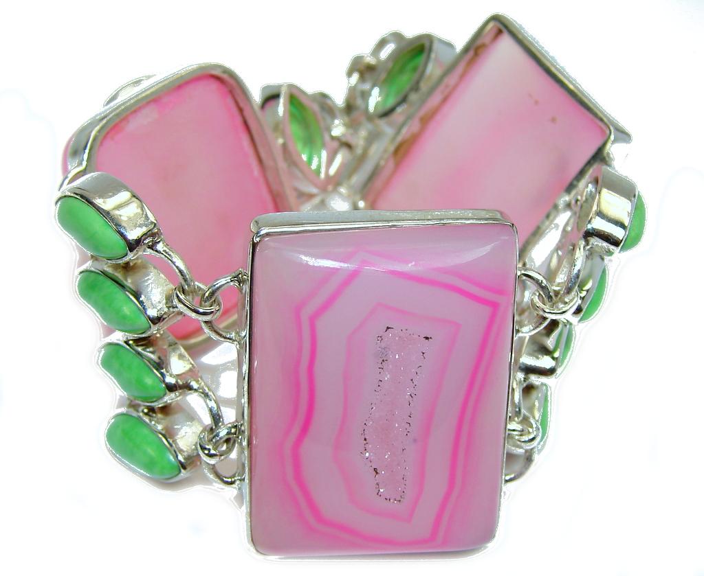 Secret Pink Agate Druzy Sterling Silver Bracelet