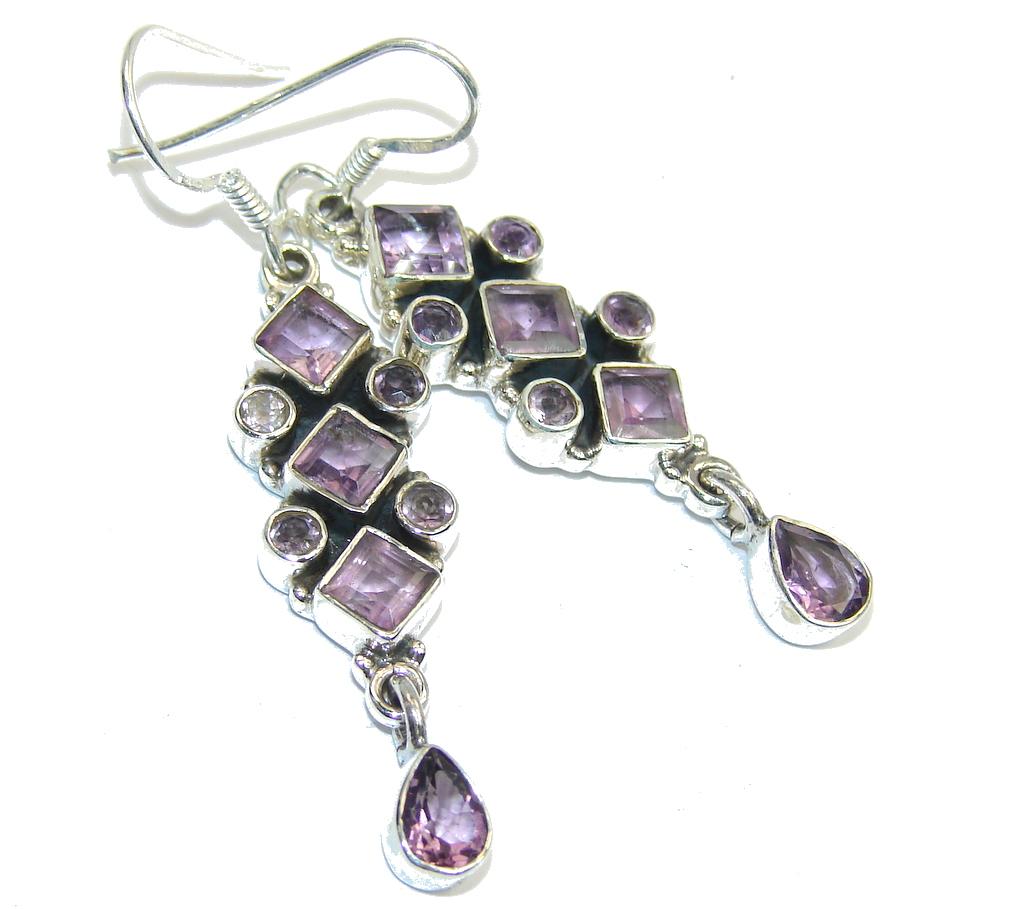 Delicate Long Purple Amethyst Sterling Silver earrings
