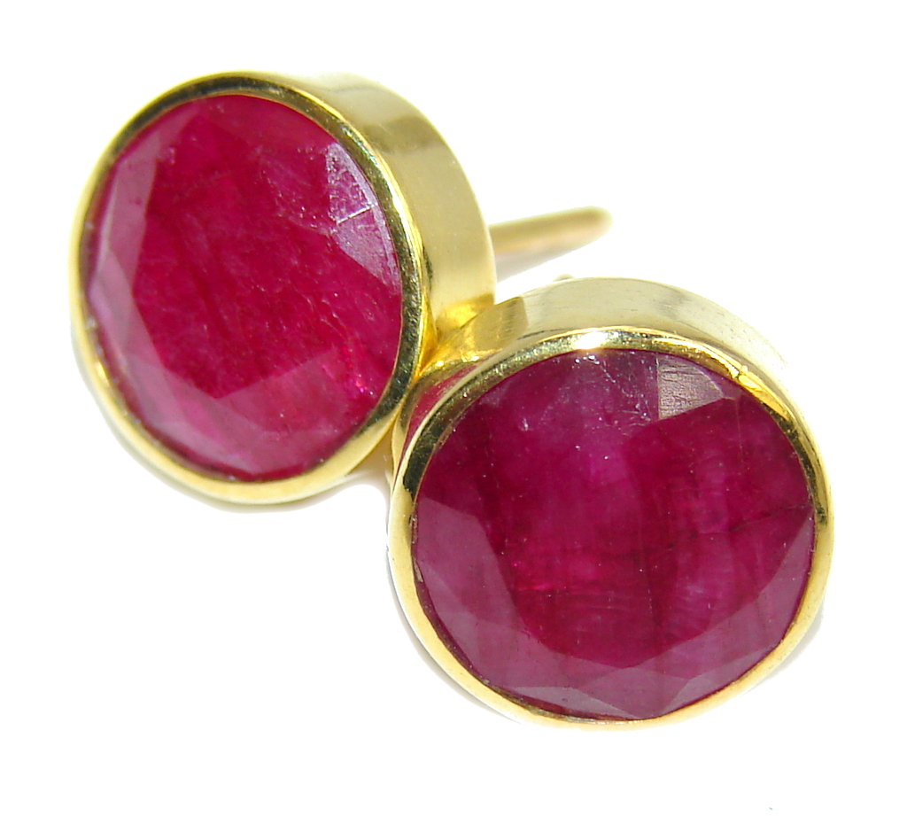 Delicate Pink Ruby, Gold Plated Sterling Silver earrings