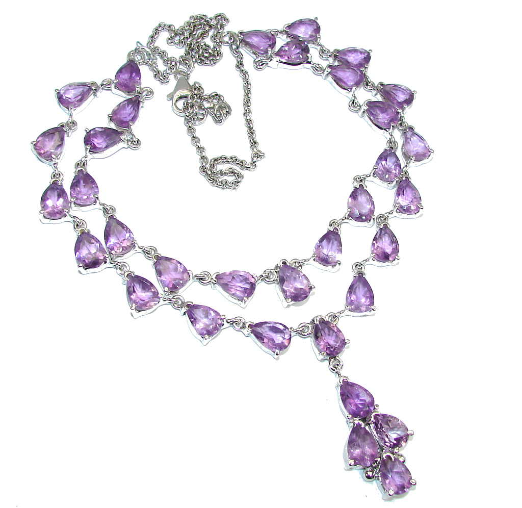 Luxurious! Natural AAA Purple Amethyst Sterling Silver Necklace