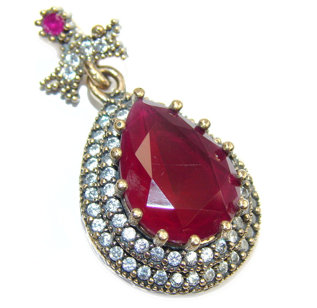 Victorian Style! Pink Ruby & White Topaz Sterling Silver Pendant