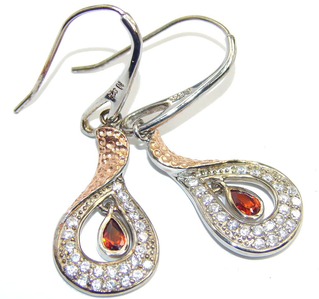 Delicate Red Garnet Sterling Silver earrings