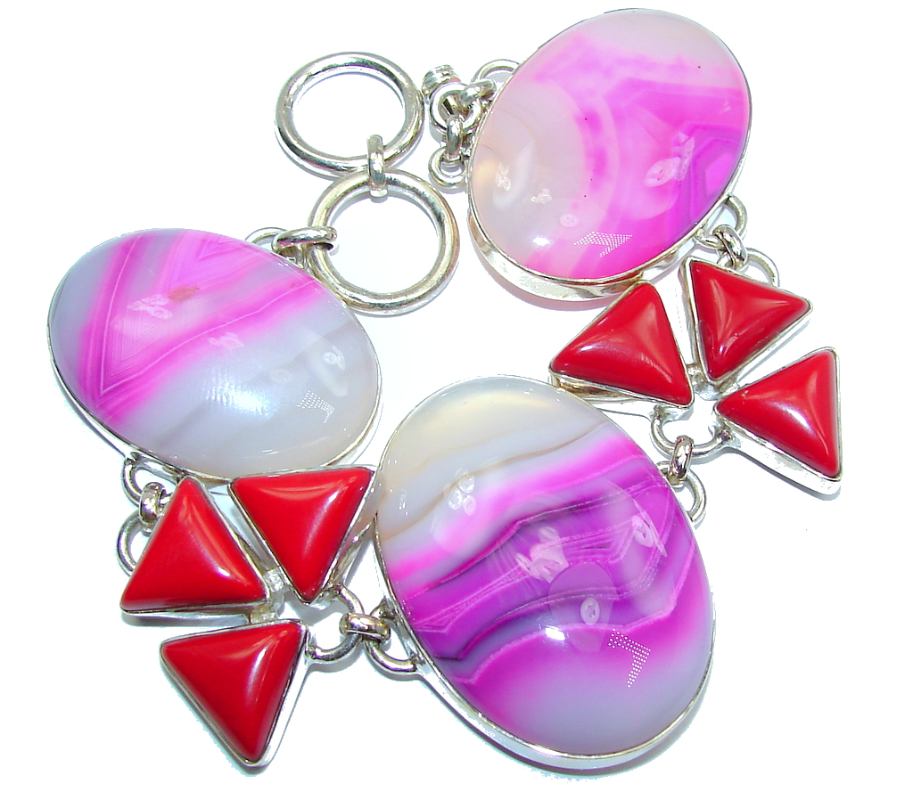 One of the kind Pink Botswana Agate Sterling Silver Bracelet