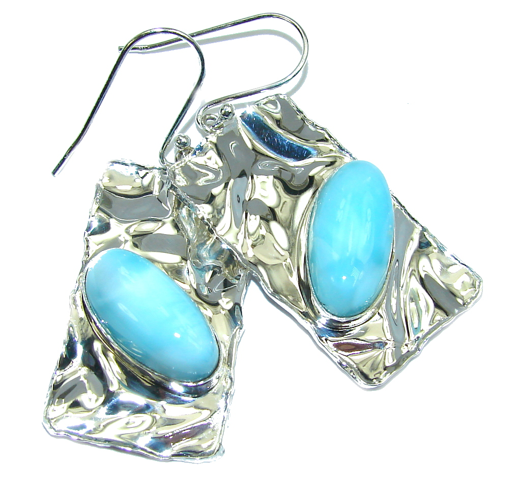 Caribbean Beauty AAA Blue Larimar Hammered Sterling Silver earrings
