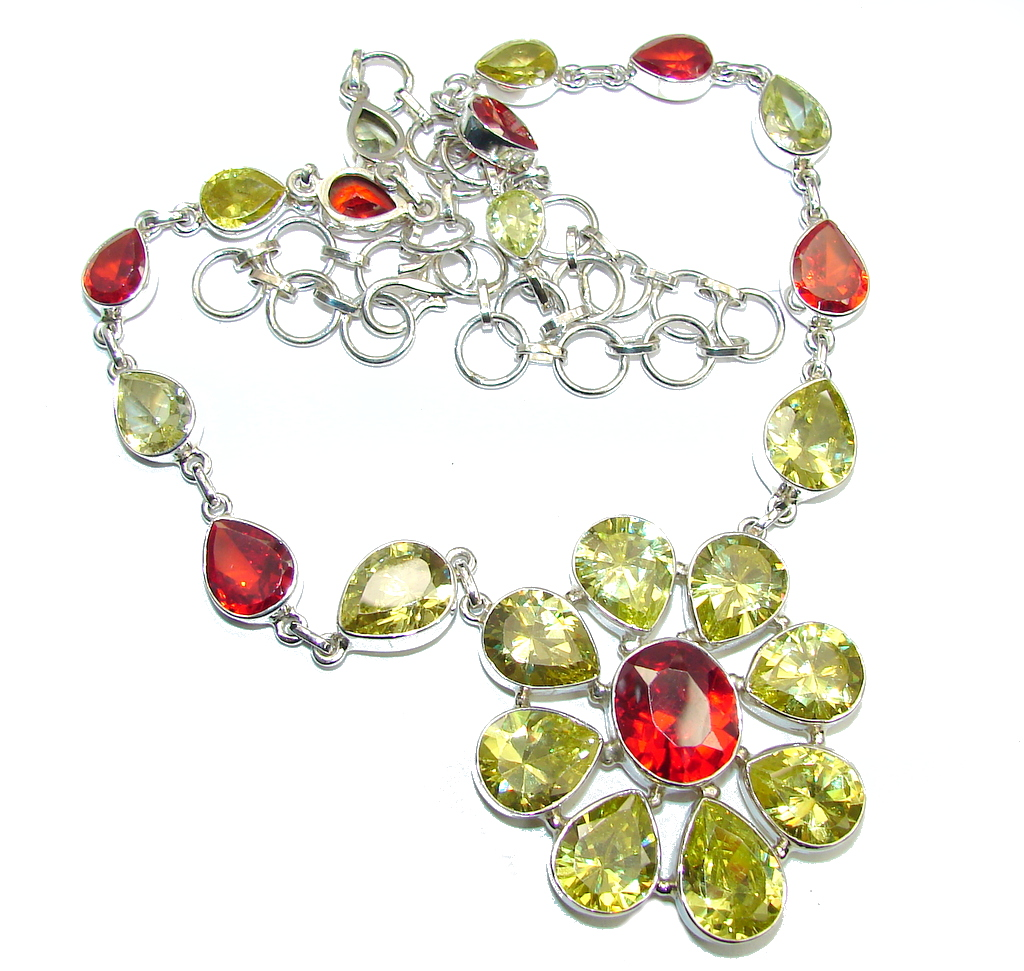 Floral Design Cubic Zirconia Sterling Silver necklace