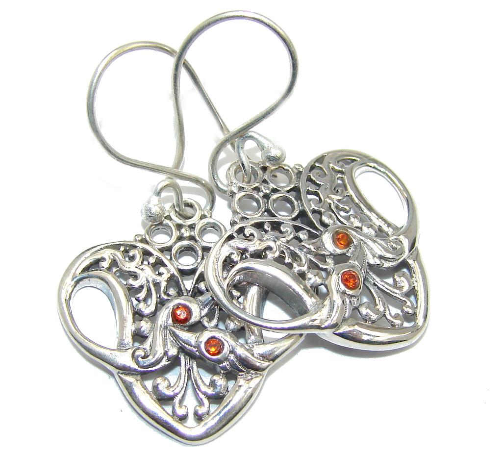 Bali Art Red Garnet Sterling Silver handmade earrings
