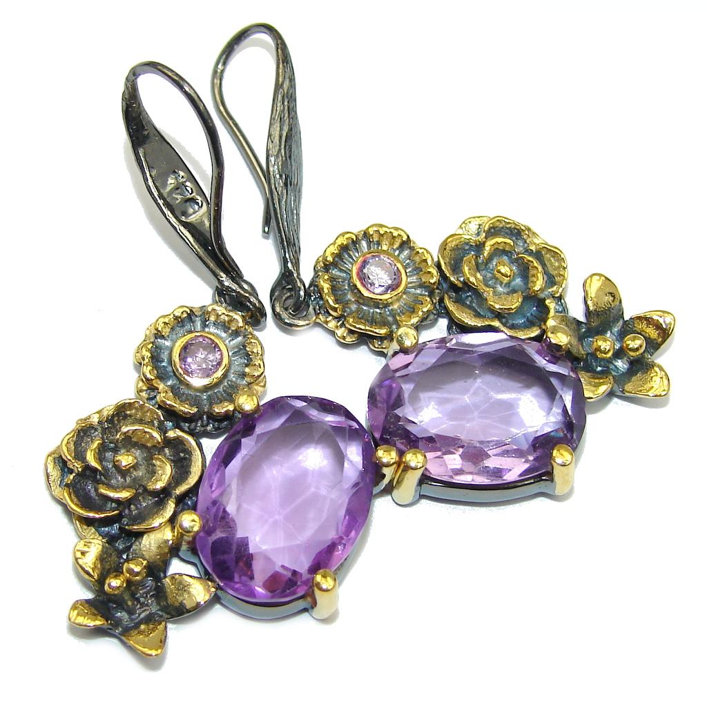 Perfect Purple Amethyst Gold Rhodium Sterling Silver earrings