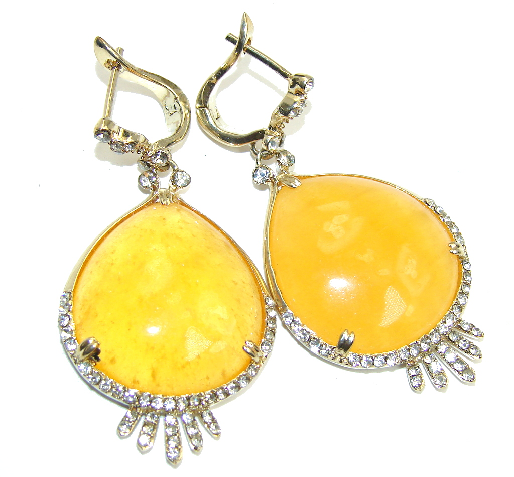 Amazing Gold Calcilite & Whiet Topaz Gold over Sterling Silver earrings