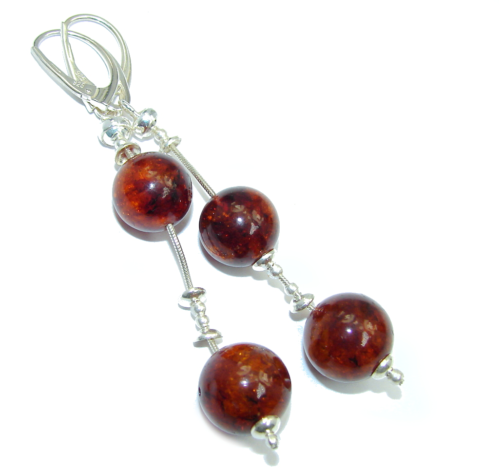 Natural Baltic Polish Amber Sterling Silver Earrings