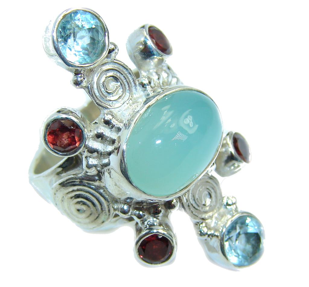 Royal Beauty Aqua Botswana Agate Sterling Silver Ring s. 8