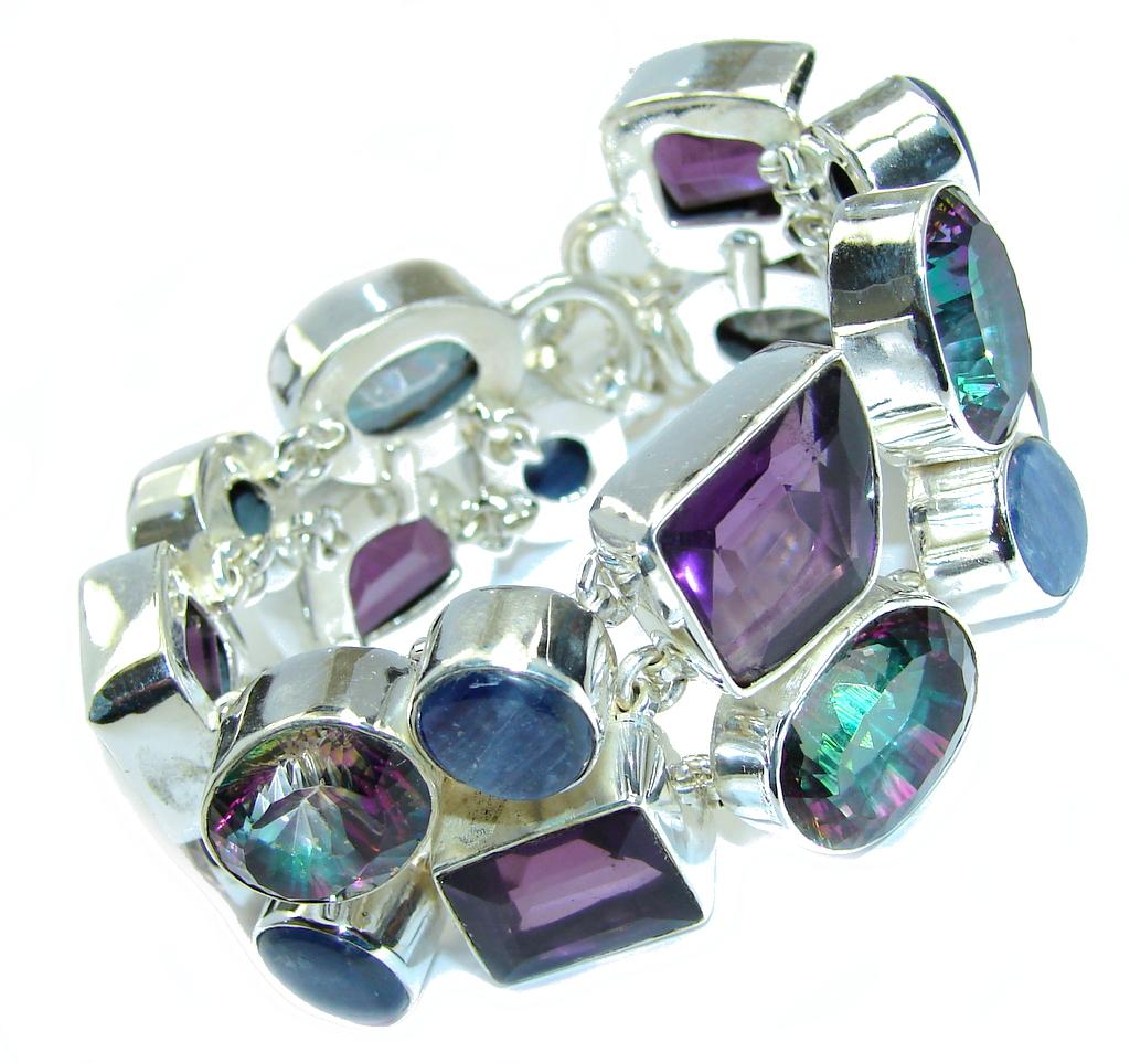 Victorian Style created Amethyst & Kyanite Sterling Silver Bracelet