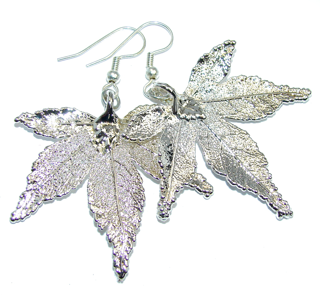 Fashion Deep In Silver Real Leaves Sterling Silver earrings