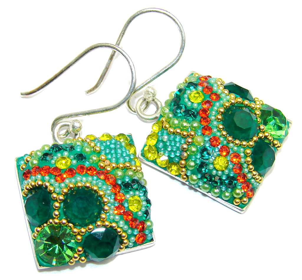 Handcrafted In Mexico Green Crystals Sterling Silver earrings