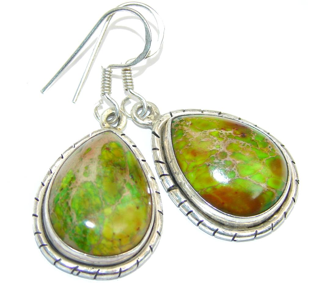 Green Sea Sediment Jasper Sterling Silver earrings