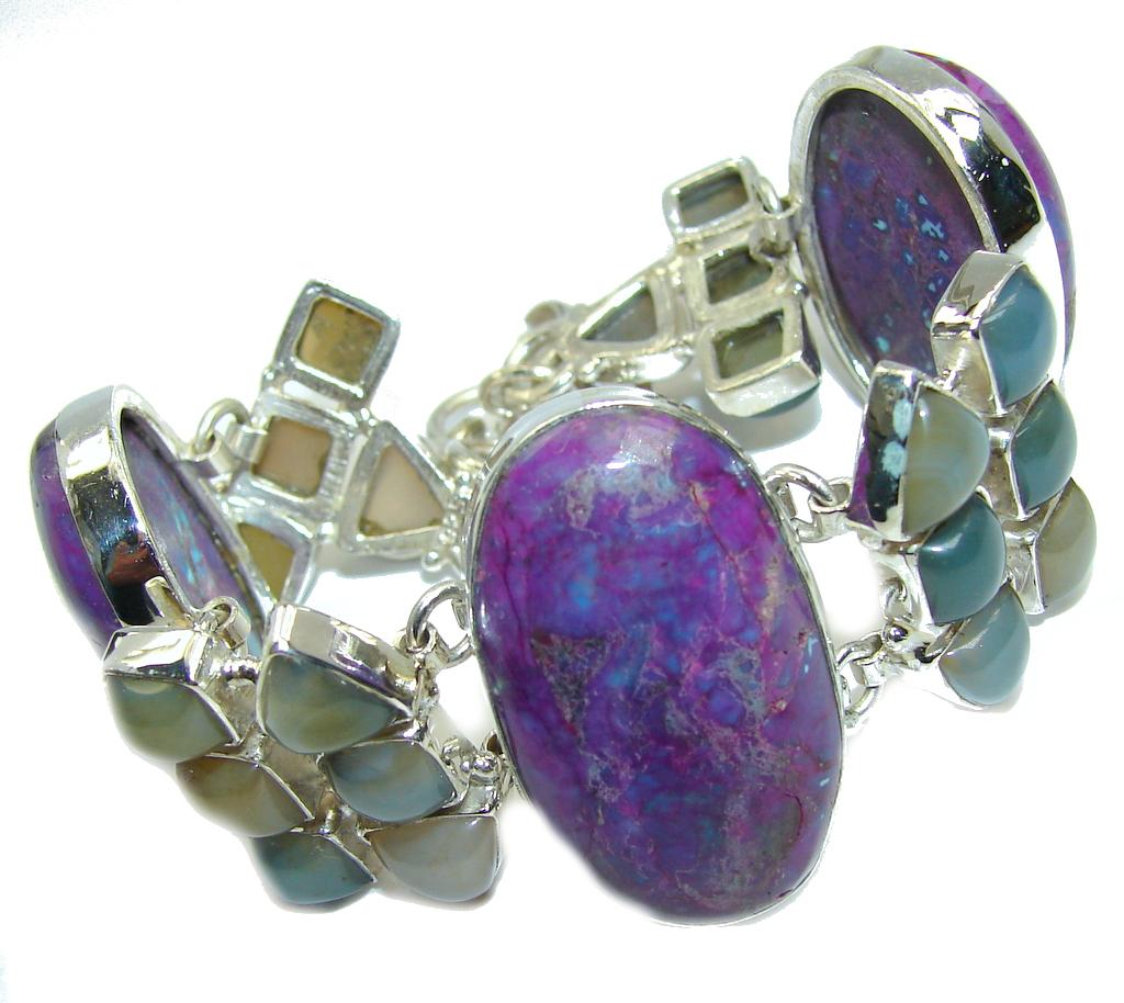 Tropical Glow Purple Amethyst Agate Sterling Silver Bracelet