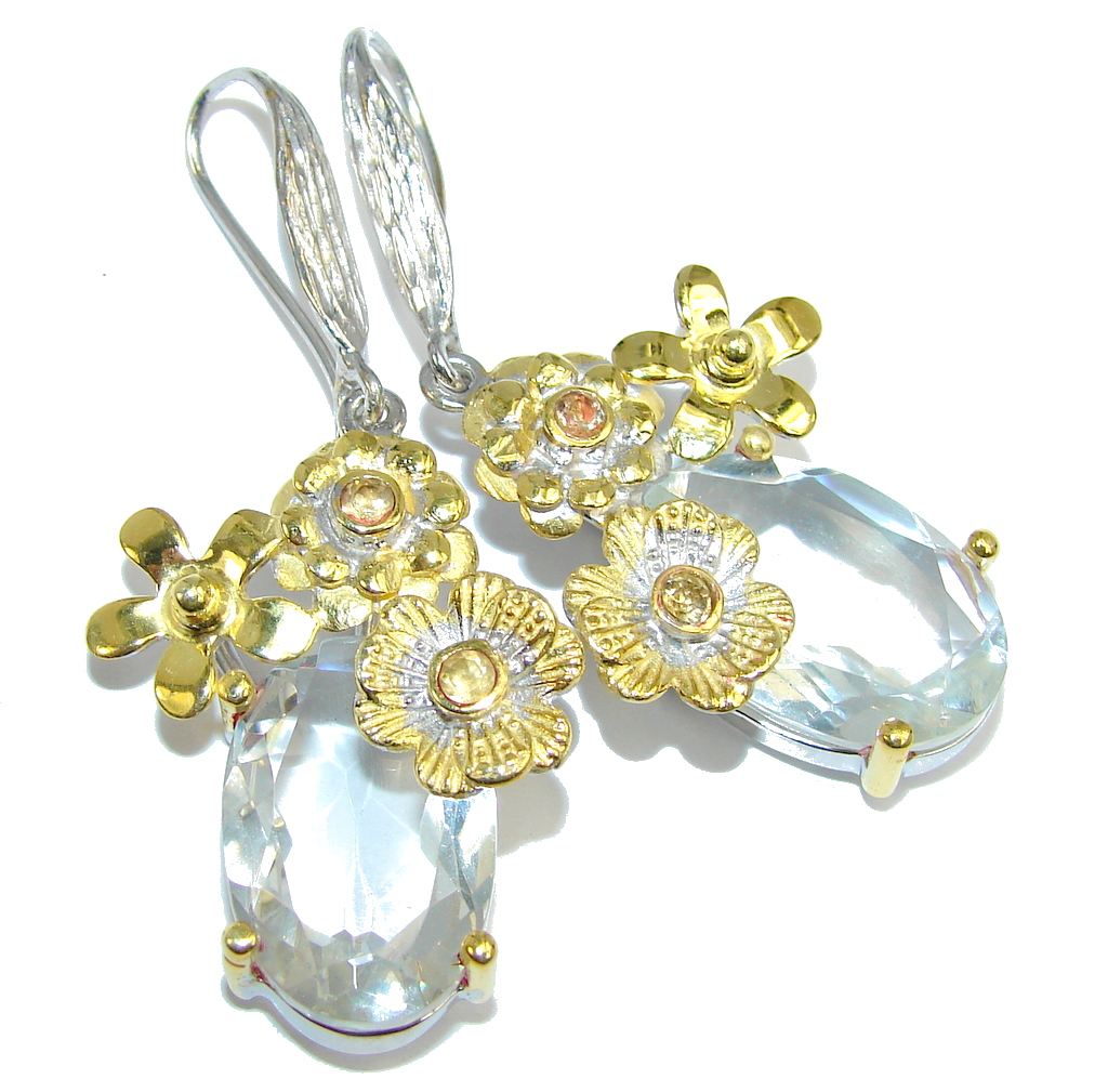 Floral Design Genuine White Topaz Gold plated over Sterling Silver earrings