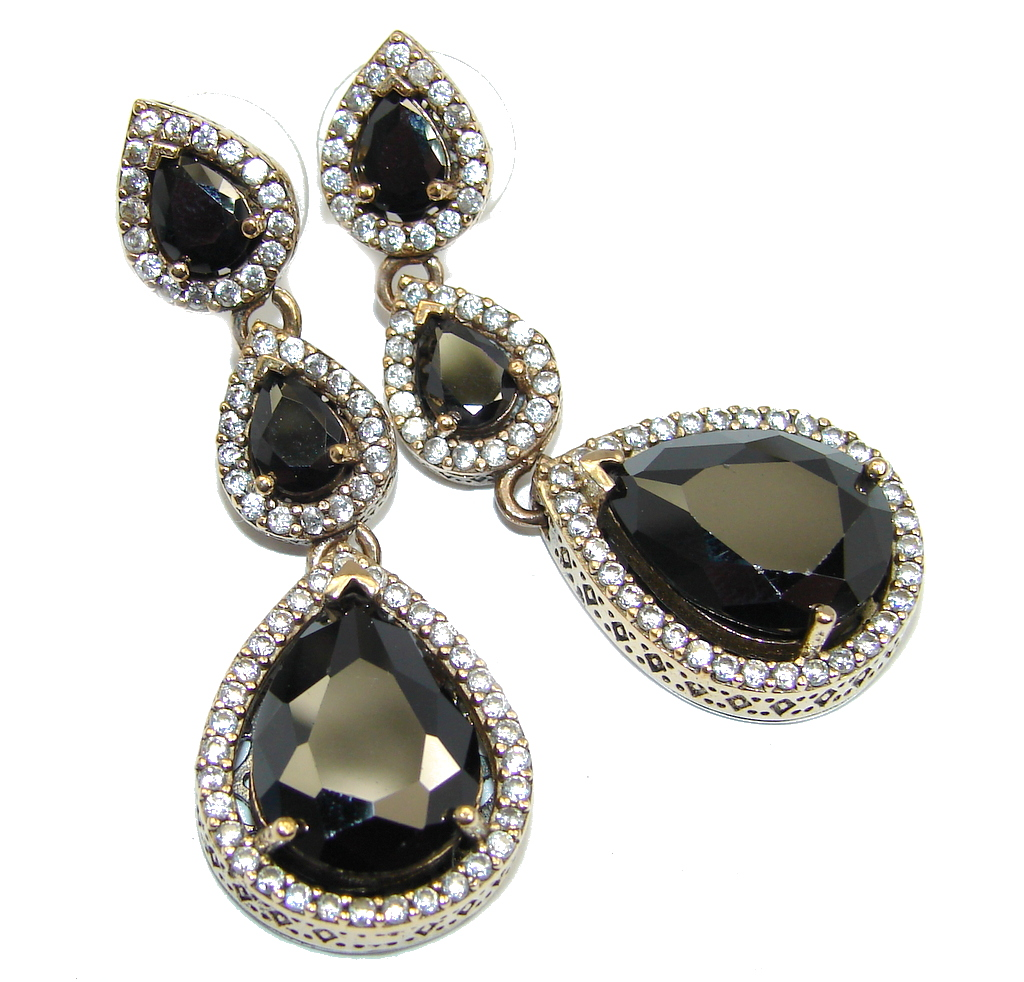 Classy Victorian Style Onyx copper covered Sterling Silver Earrings