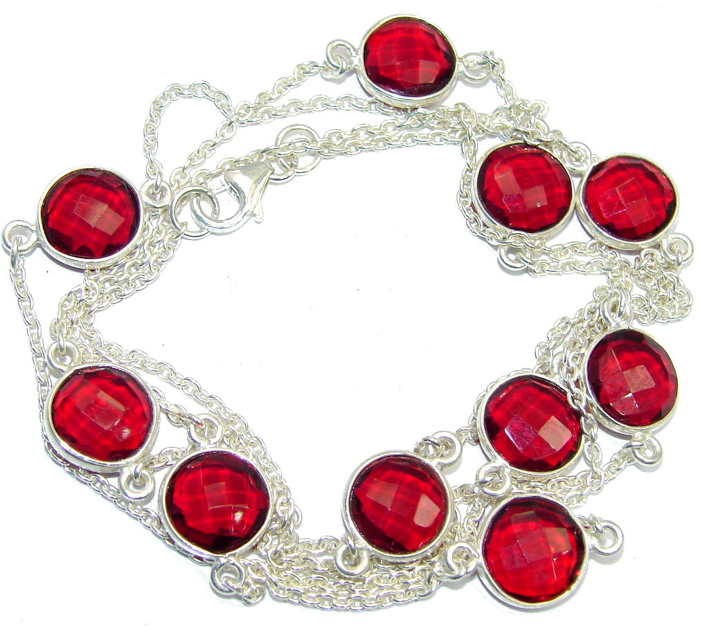 36 inches Red Passion Sterling Silver Necklace