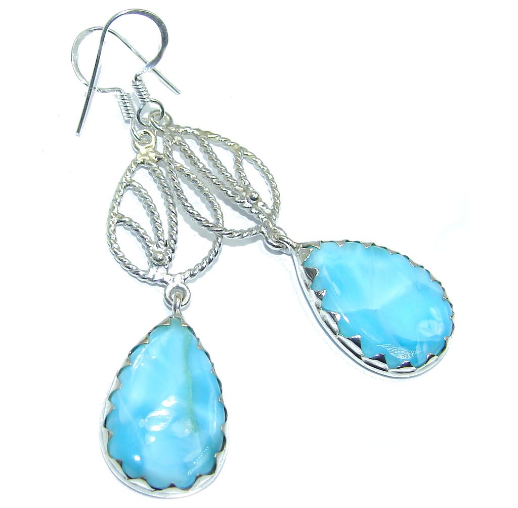 Huge True Caribbean Beauty AAA Blue Larimar Sterling Silver earrings