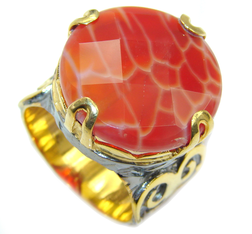 Genuine Mexican Fire Agate Gold over Sterling Silver ring s. 9