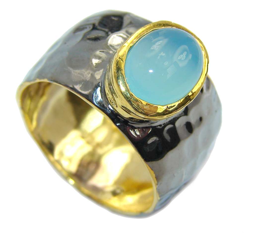 Classy Botswana Chalcedony Agate Gold Rhodium Plated over Sterling Silver Ring s. 8