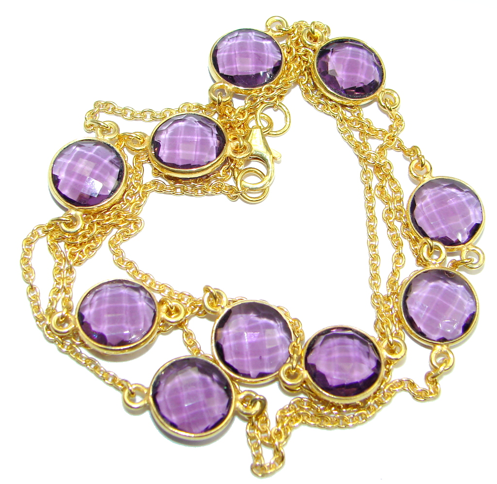 36 inches created Amethyst Gold over Sterling Silver Necklace