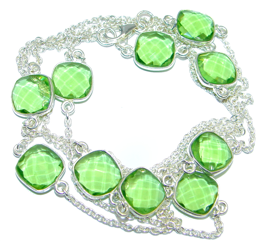 36 inches created Peridot Sterling Silver Necklace