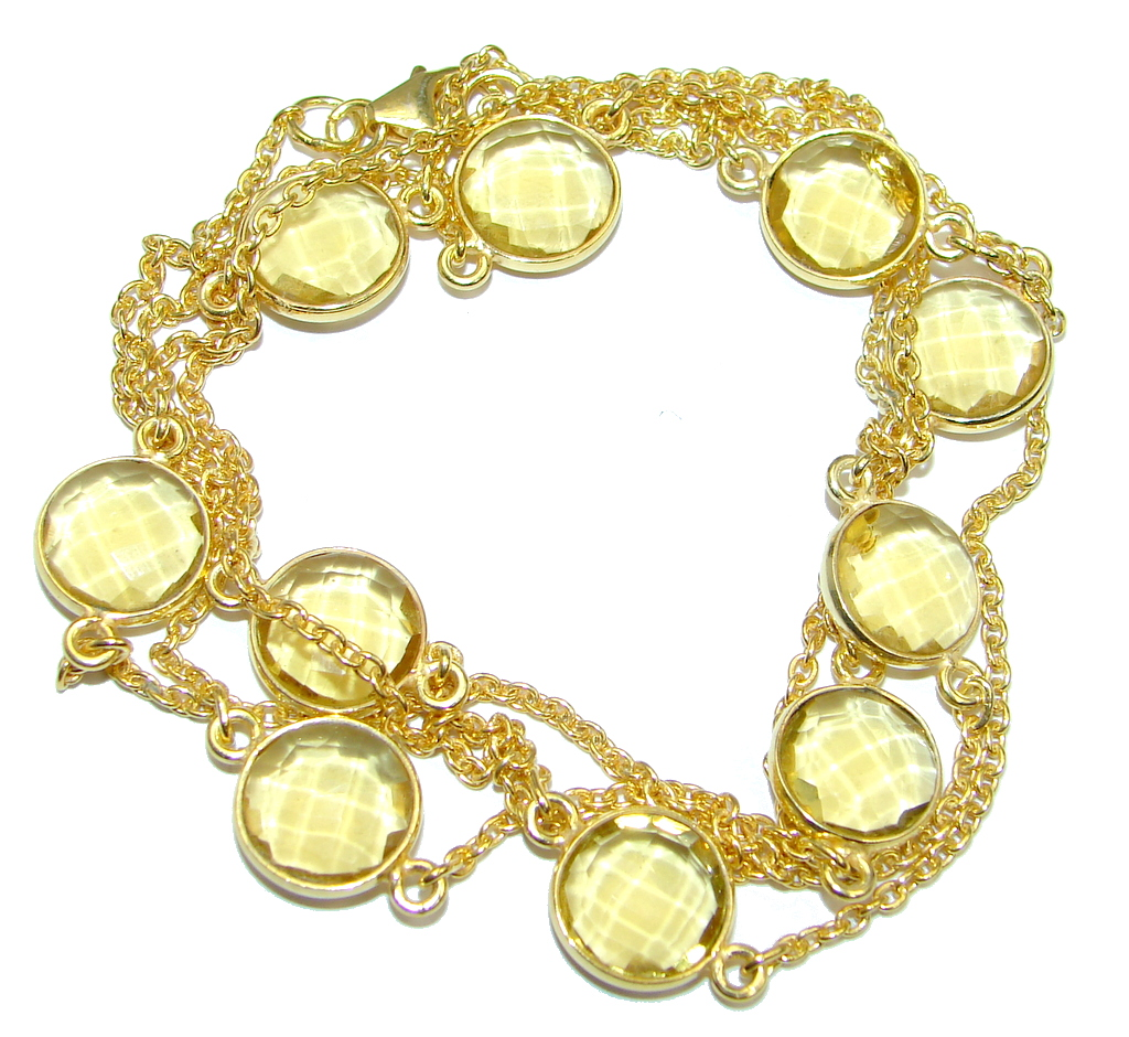 36 inches created Citrine Gold over Sterling Silver Necklace