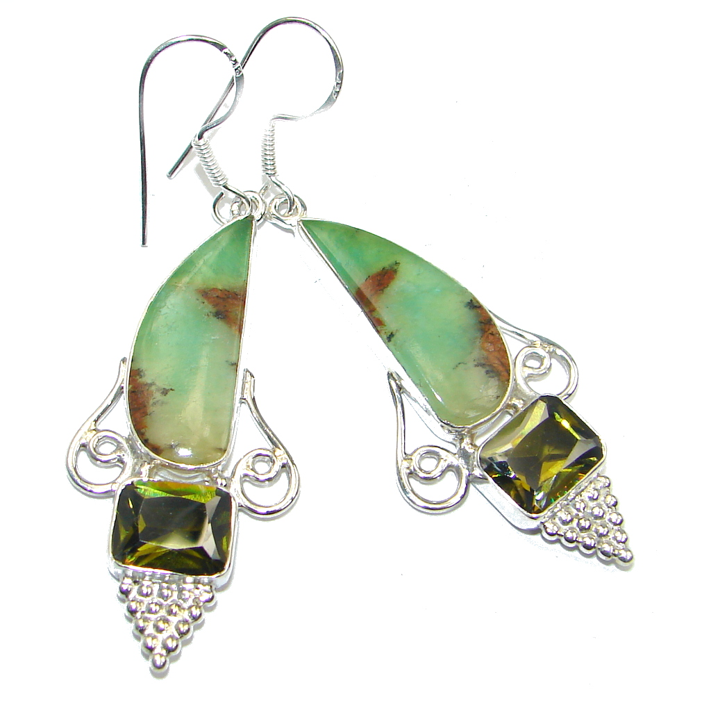 Amazing Green Chrysophrase Sterling Silver earrings