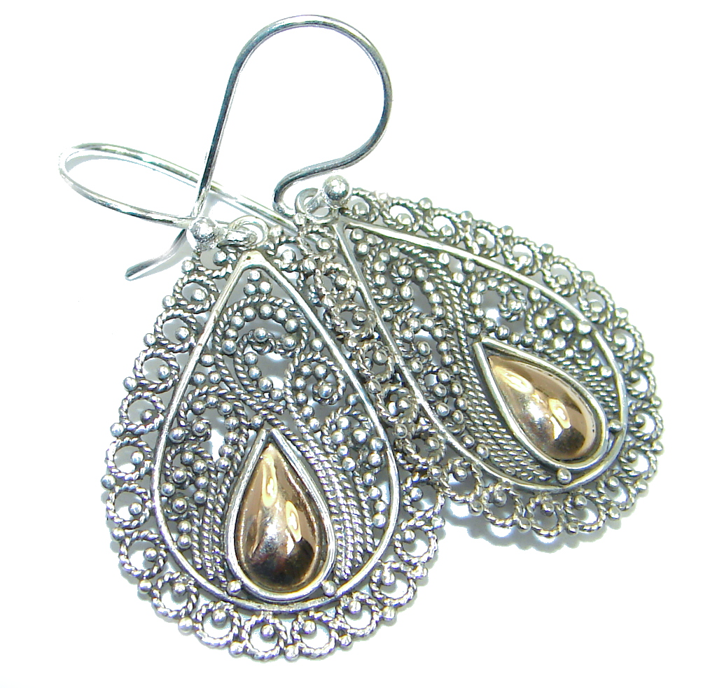 Just Perfect Two Tones Indonesian Made Sterling Silver earrings