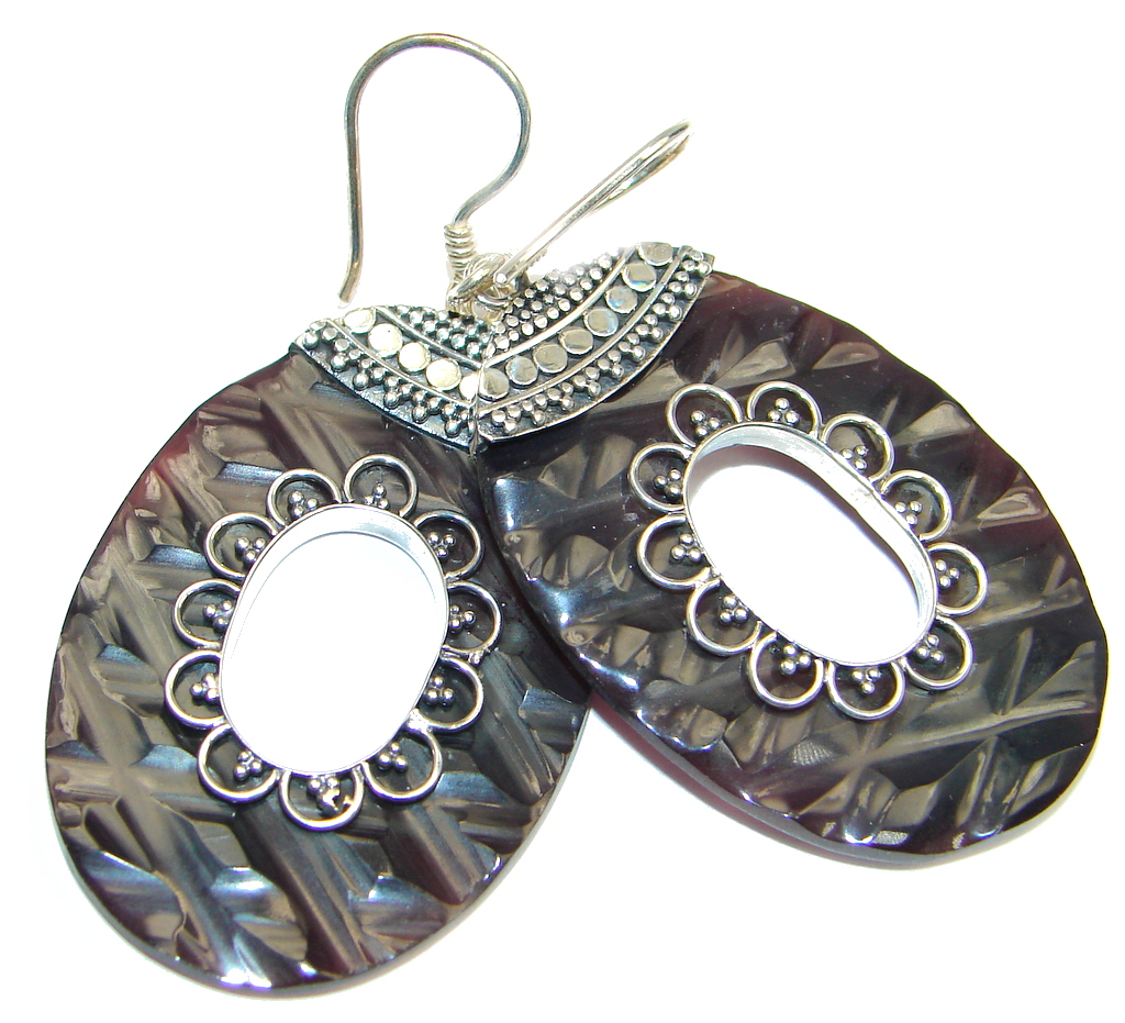 Carved Ocean Shell Sterling Silver handmade earrings