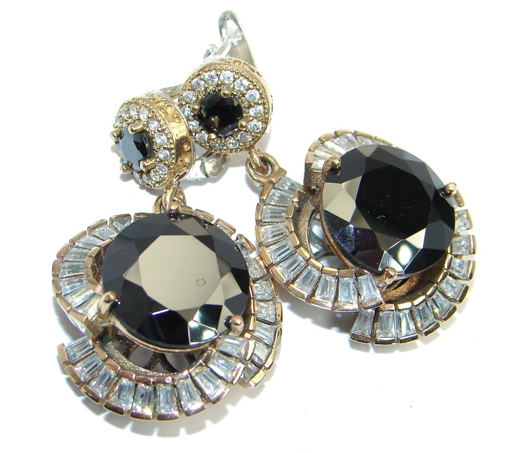 Large Victorian Style Onyx Ruby copper plated Sterling Silver Earrings