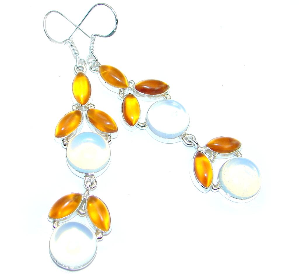 Created Opalite Sterling Silver handmade earrings
