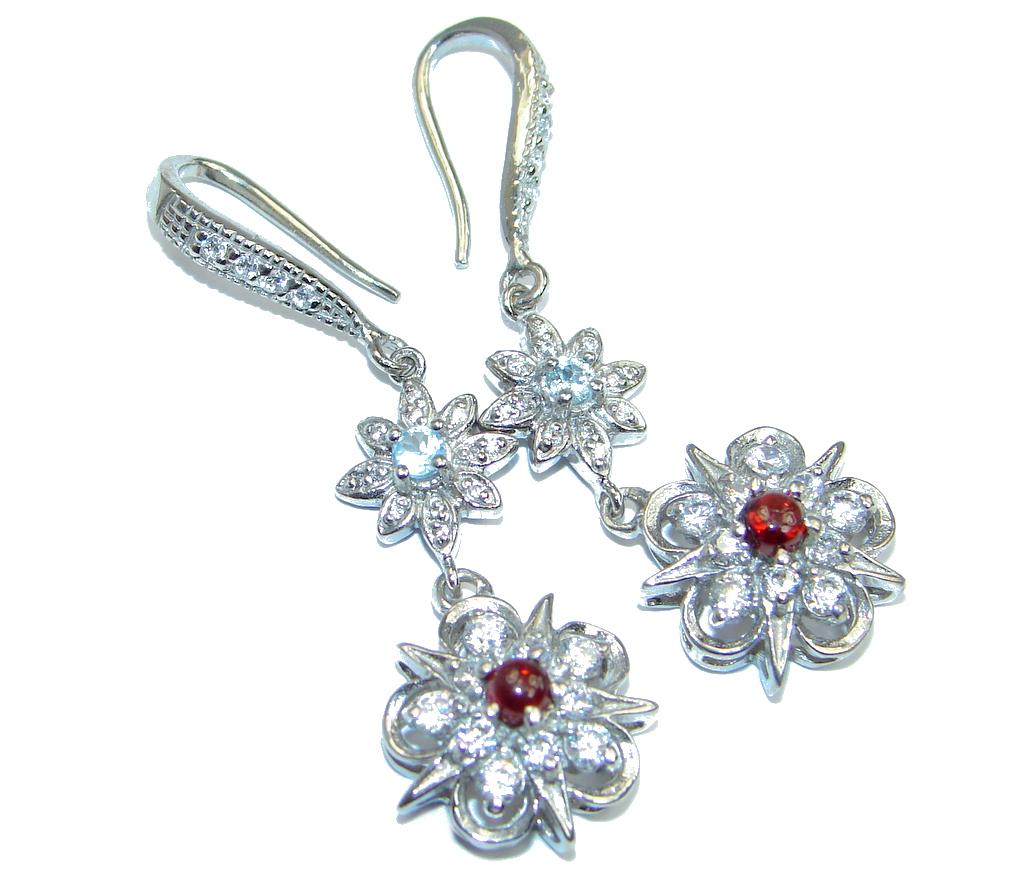 Classy White Topaz Garnet Sterling Silver earrings