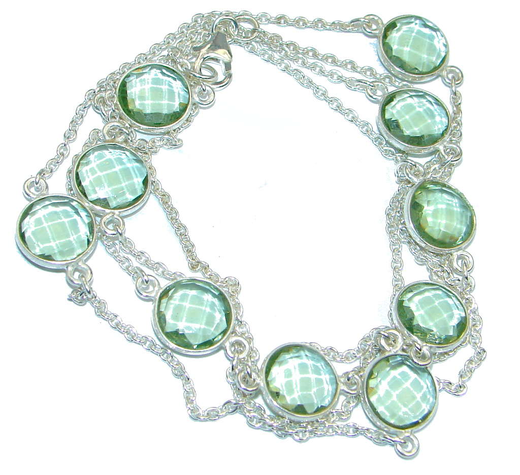 36 inches created Green Amethyst Sterling Silver Necklace