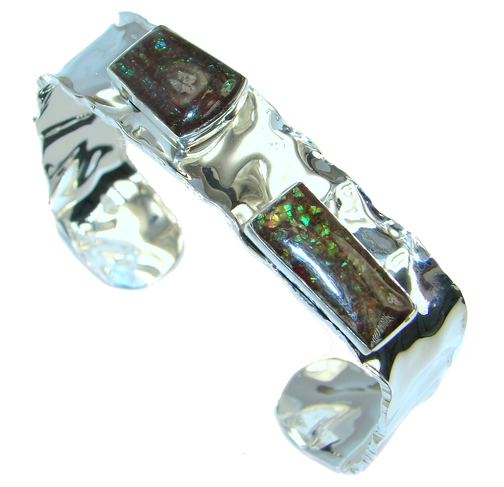 Beautiful Design Red Ammolites hammered Sterling Silver Bracelet / Cuff